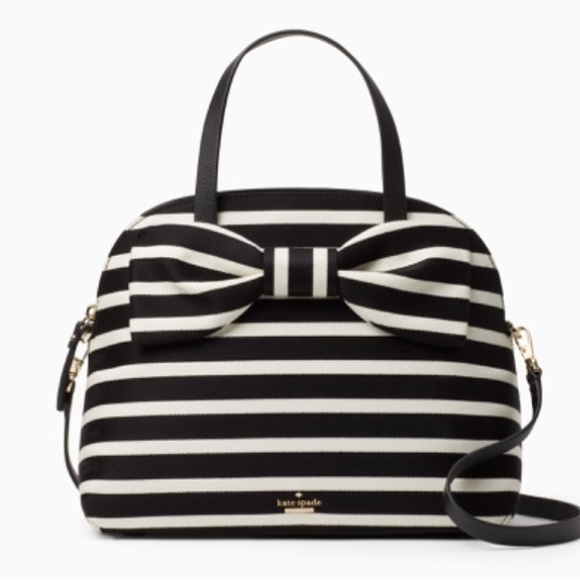 e2c2eb4258e8 Kate spade olive drive Lottie stripe black bow bag NWT